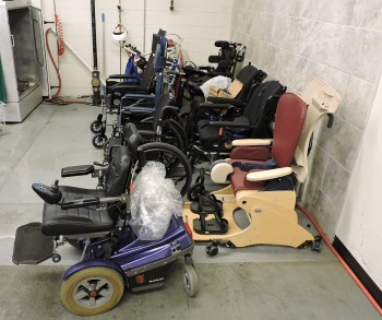 A variety of wheelchairs and other donated D M E