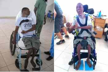 Left: a young man in an ill-fitting chair. Right: the same young man upright with footrests and head support, smiling.