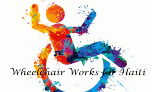 Wheelchair Works for Haiti logo shows joyous painted wheelchair user icon